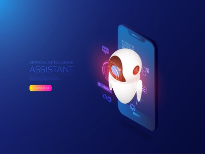 Ai assistant iot robotic robot assistant digitalart ai hud futuristic future smartphone computer hologram artificial intelligence digital app icon ui technology vector illustration