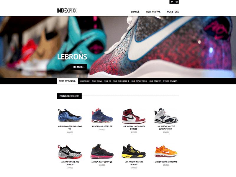 f814f67e01a IndexPDX minimal website design store webstore shoes kicks white clean flat  ecommerce portland