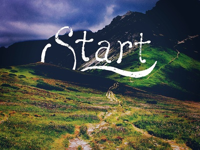 Start lettering typography distress grunge outdoors hiking backpacking vector
