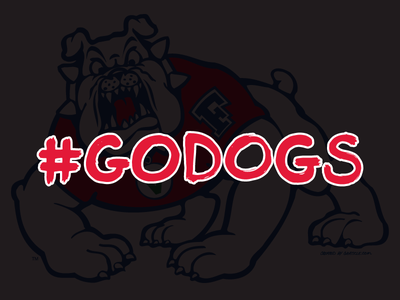 Go Dogs! fresno football college bulldog lettering brush type typography grunge dog ncaa