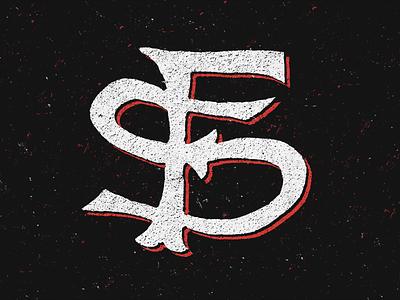 Fresno State Monogram monogram lettering type grunge distress paint baseball football sports bulldogs