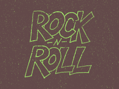 Rock 'n Roll lettering type typography grunge distress art design brush pen