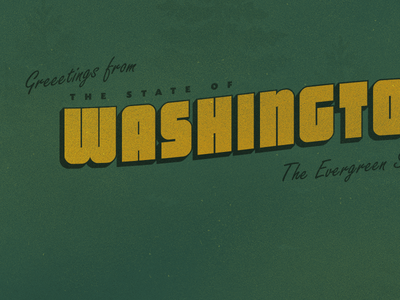 Greetings From The State Of Washington vintage type design grunge distress distressed texture typography classic postcard