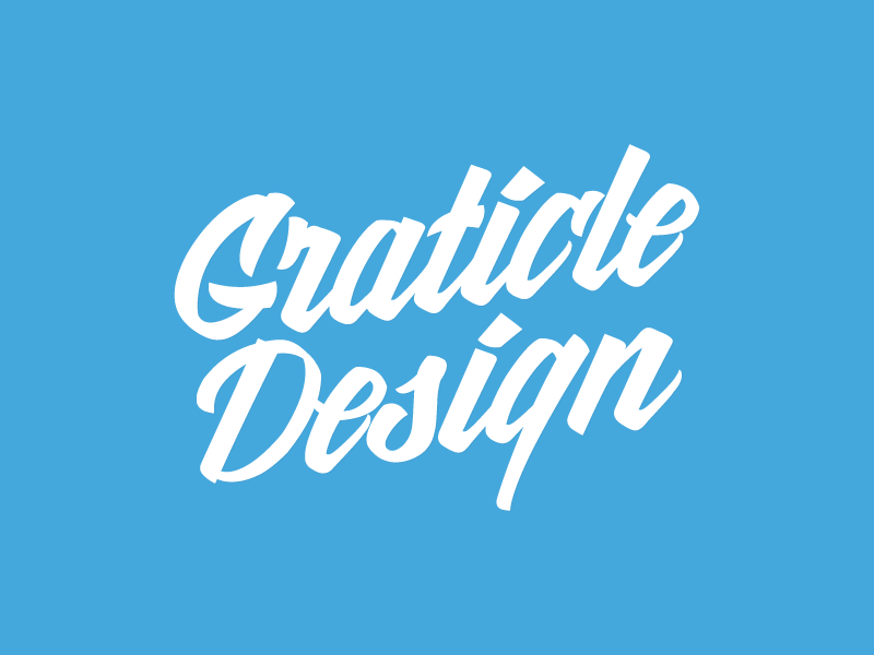 Graticle Logo lettering handwriting script design brand logo sticker