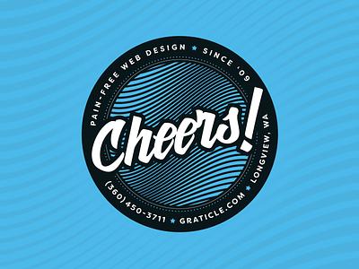 Cheers! blue design stickermule webdesign typography drink print coaster design coaster