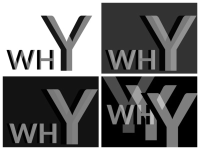 But why? white space 3d typography transparency