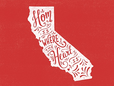 HOM Is Where The Heart Is typography lettering type hand lettering illustration design california printmaking