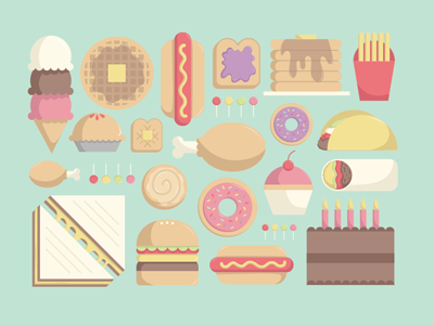 Comfort Food Icons food icons illustration vector comfort food ice cream pie toast fries chicken taco burrito grilled cheese hamburger hot dog cake pancakes lollipop donut