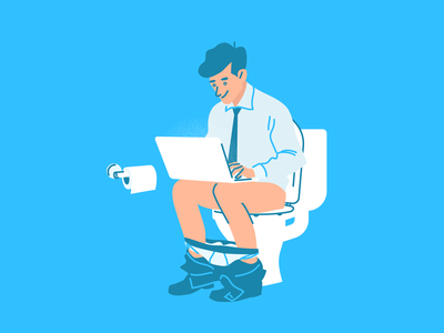 Working From Home blue illustrator laptop working from home design character design illustration adobe