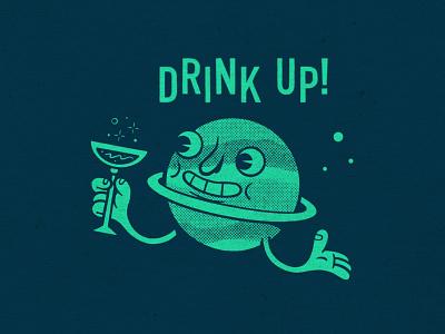 Saturn Drinking a Saturn. tikicocktails tikidrinks tiki saturn sketchbook sketch applepencil ipadpro procreate illustration