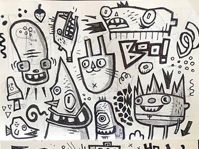Sketchbook drawing doodles sketchbook pencil marker pen
