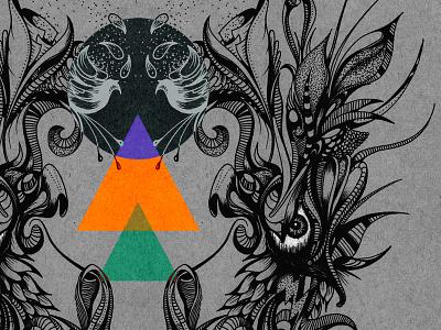 """Stigma"" abstract illustration, Pen & Ink + PS pen and ink illustration abstract detailed drawing linework stippling eyes"