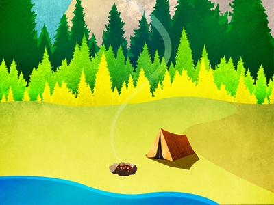 Outdoors Adventure Guide Cover illustration outdoors illustration texture vector camping simple stylized friendly art