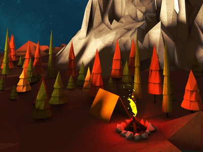 Low Poly Camping Scene low poly camping outdoors warm orange mountains illustration