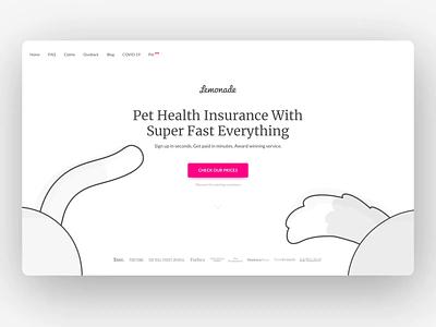Lemonade Pet Insurance design cat dog animation illustrations lottie lemonade pink pet