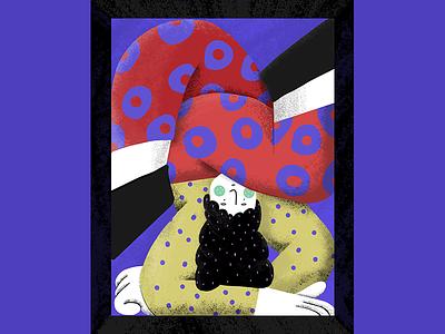 A struggle upside down pattern blue flower box frame girl struggle