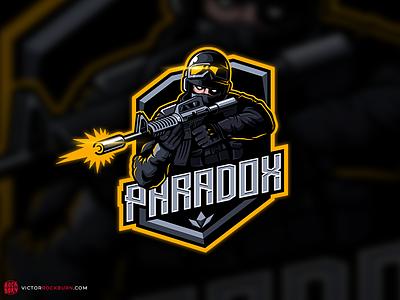 Paradox (standoff 2 team) warrior logo warrior soldier mobilegaming specops vectorlogo vectorart badgelogo badge teamlogo fps shooter onlinegaming esportlogo esports esport mascotlogo mascot logo logotype