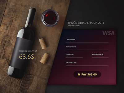 Daily UI Challenge #002 - Credit Card Checkout ramon bilbao user experience user interface credit card wine flat ui misstrack checkout 002 dailyui