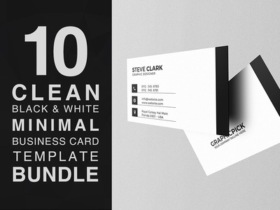 10 Clean Black and White Minimal Business Card Bundle bundle white black modern minimalist minimal creative cheap clean businesscard card business