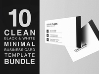 10 Clean Black and White Minimal Business Card Bundle