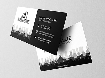 Real Estate Business Card 2 black premium rent estate real loan homes market creative construction businesscard building