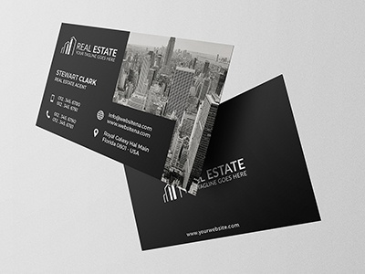 Real Estate Business Card 3 rent real premium market loan homes estate creative construction businesscard building black