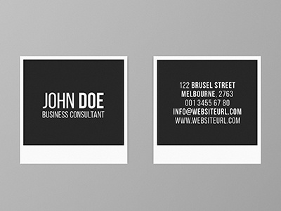 Square Minimal Photography Business Card picture camera snap photograph photographer creative business card photography