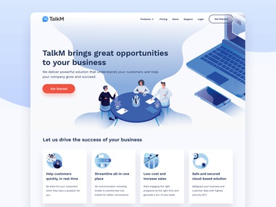 TalkM Landing Page intercom zendesk chatbot crm live chat talkm illustrations card design ui design philippines krvin kervin tan