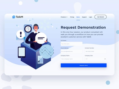 TalkM Demo Page kervin tan krvin philippines ui design card design illustrations talkm live chat crm chatbot zendesk intercom
