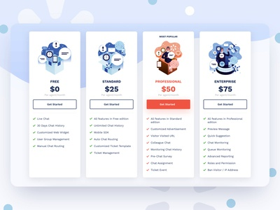 TalkM Pricing Page illustration crm flat illustrations live chat talkm intercom zendesk pricing pricing page ui design krvin kervin tan