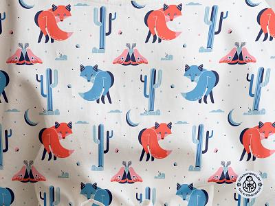 Fox Desert Pattern night cactus desert fox surface pattern design textile design