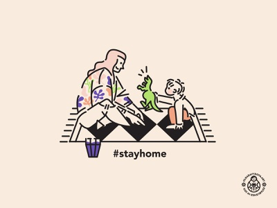 Stay Home Mother and Child with Dino family home stayhome kid motherhood vector illustration illustration line art character design flat