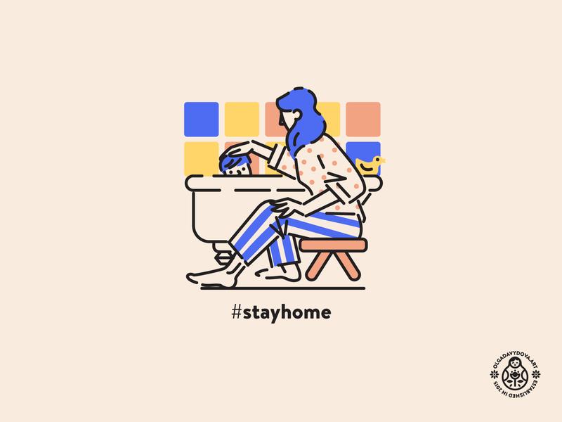 Stay Home Mother Bathing Her Toddler Baby kids line art flat vector illustration illustration character design