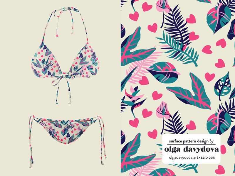 Tropical Pattern Design 🍹 swimwear pattern textile design palm tropical