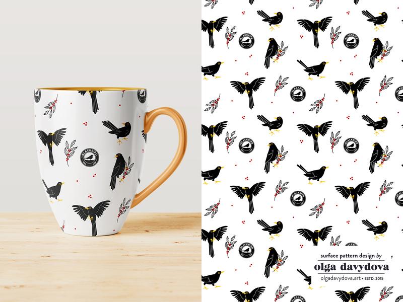 Blackbirds Pattern illustraion vector pattern design blackbird