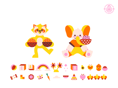 Raccoon and Elephant for Yumicious character design cute elephant children kids animal