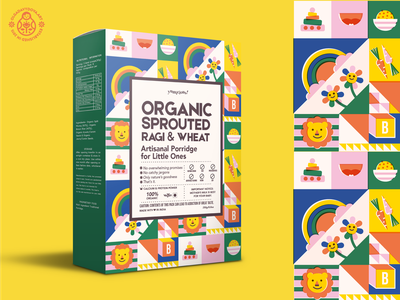 Unused Concept for Baby Porridge character design flat cute animals risograph surface pattern icons children illustration packaging design branding and identity