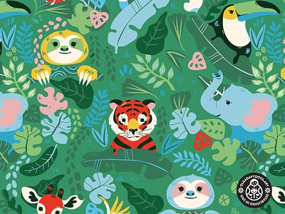 Jungle Fun Surface Pattern Green vector illustration character design olga davydova ollysweatshirt baby fashion kids clothing elephant giraffe toucan banana leaf tiger sloth jungle