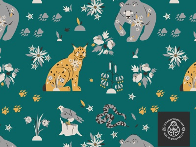 Pattern for Kindels Store print textile seamless surface pattern paw snake eagle snowdrop flowers bear animal character lynx