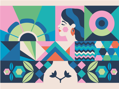 Hera Brand Illustration brand identity health woman scandinavian nature girl abstract pattern flat icon vector illustration character design illustration olga davydova ollysweatshirt