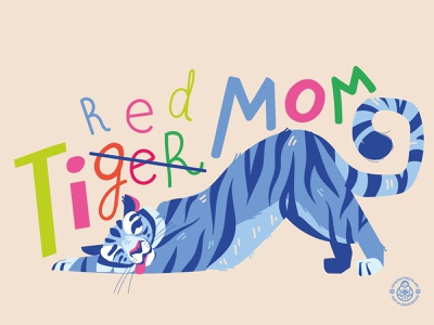 Tiger Mom Print nature illustration vector illustration character design tired parenting cat apparel design print mom tiger