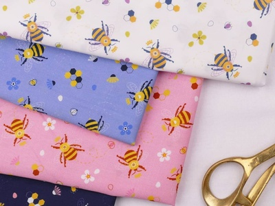 Queen Bee Pattern Design fabric honey bee illustration pattern