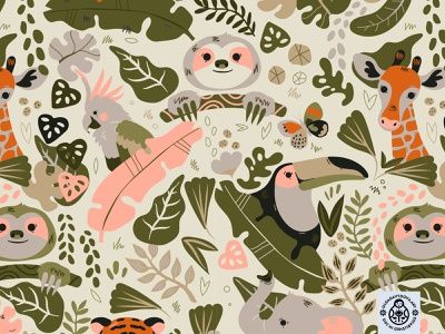 Jungle Fun Pattern Alt Colours sloth toucan nature giraffe character elephant tiger animals jungle illustration seamless pattern