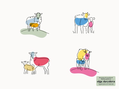 Four Seasons Agribusiness Illustrations for Packaging linear vector sheep cow icon illustration brand identity