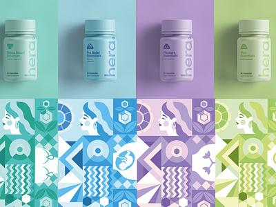 Hera Packaging Final bottle supplement package design branding health girl retro pattern brand identity illustration character design