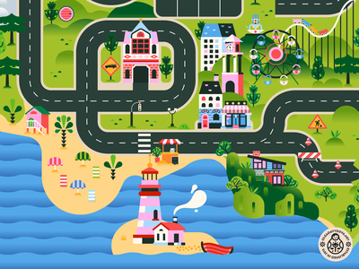 Junilane Road Play Mat fragment fire station sea icon design tree illustration art beach lighthouse buildings toy rug landscape road play mat