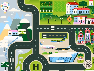 Road Play Mat for Junilane (Second fragment) road mountain airport airplane illustration building sity