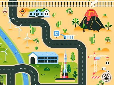 Road map fragment (Volcano, Cosmodrome and construction side) rug design building toy design kids art map illustration