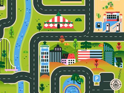 City Road Map Play mat illustration geometic flat landscape city vector illustration building map