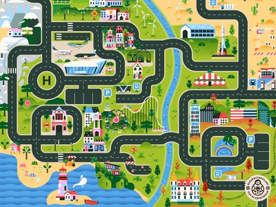 City Road Map Play mat illustration (Full) mountains lighthouse children kids flat illustration building airplane landscape city map